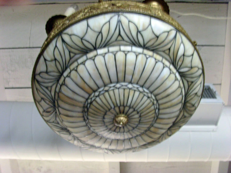 Metal and Slag Glass Hanging Fixture