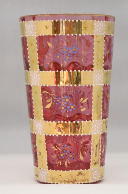 Moser Cranberry Decorated Juice Glass