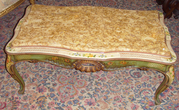 Handpainted Marble Top Coffee Table