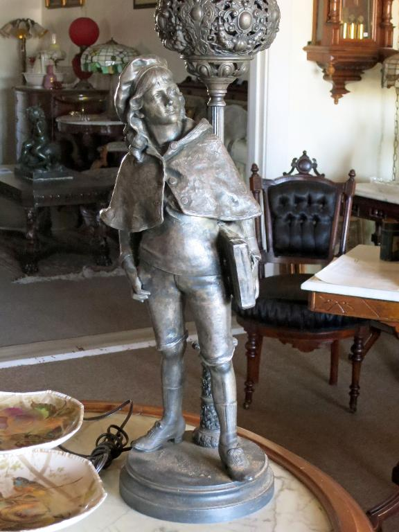 Figural Spelter Lamp of School Boy