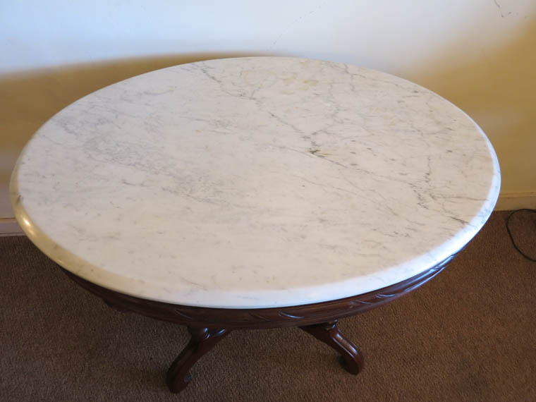 Victorian Oval Walnut Marble Top Table