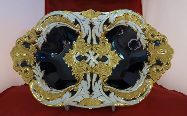 Meissen Cobolt, White and Gold Bowl