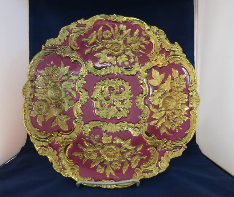 Meissen Pink and Gold Charger