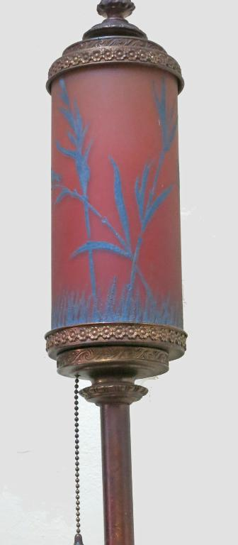 Standing Lamp with Art Glass Shade - birds