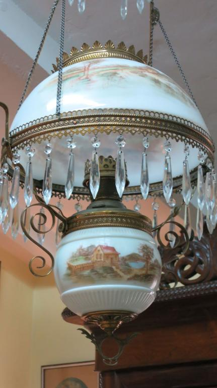 American Victorian Gone with the Wind  Hanging Fixture with Scenic Decoration