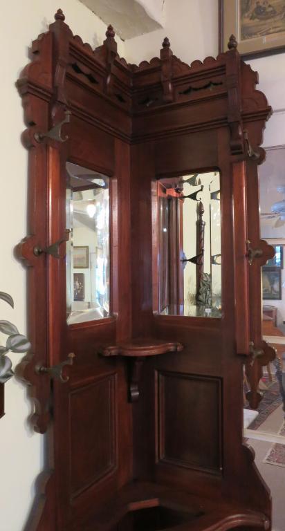 Rare American Victorian Corner Hall Tree