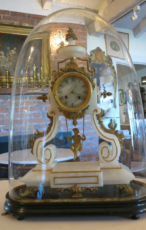 French Alabaster & Bronze Clock Under Dome by Vincenti et Cie.