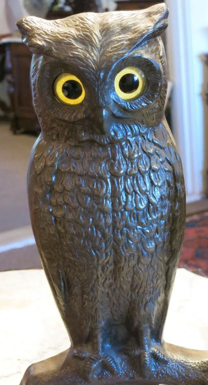 Antique Cast Iron Owl Andirons with Glass Eyes