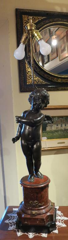 Bronze Cherub Lamp on Rouge Marble Base