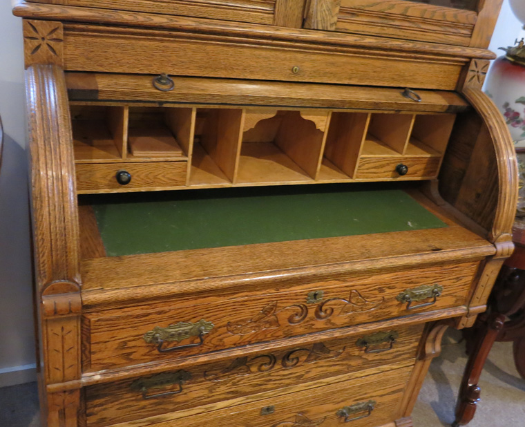 Tiger Oak Cylinder Roll Secretary Desk