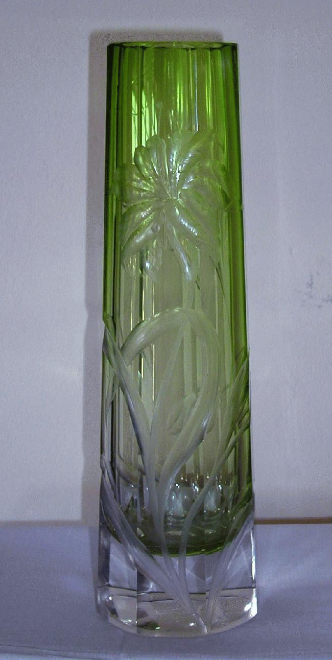 Large Heavily Carved Moser Vase