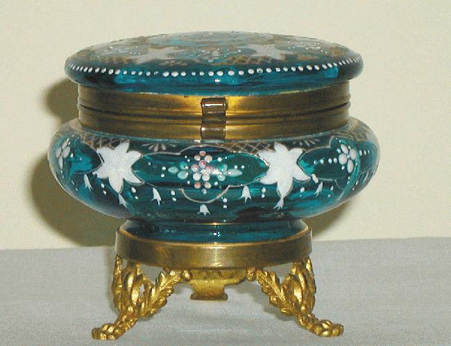 Blue Moser Glass Enamel Box on Stand