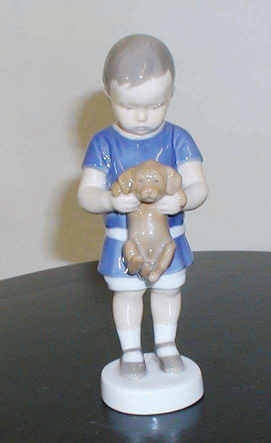 B&G Figurine of Boy Holding Puppy