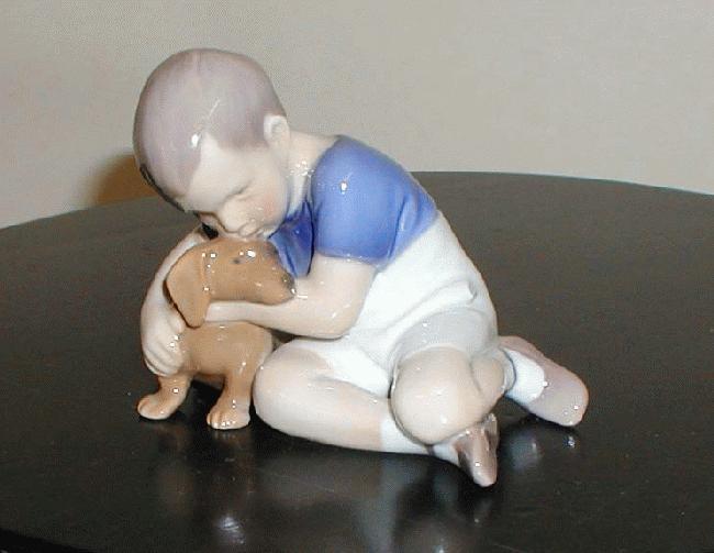 B&G Figurine - Boy with Daschund