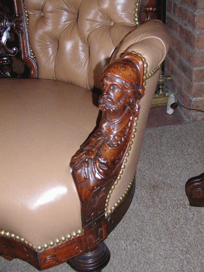 American Victorian Jelliff Sofa w/Man's Heads