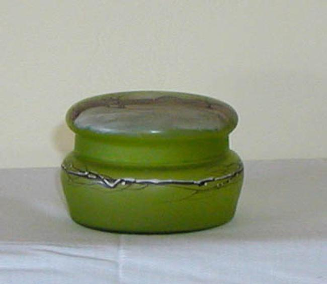 Green Enamel Art Glass Box