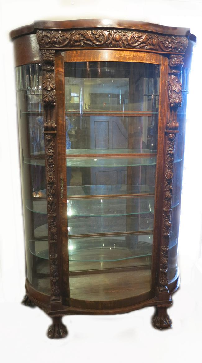Heavily Carved American Victorian Oak China Cabinet