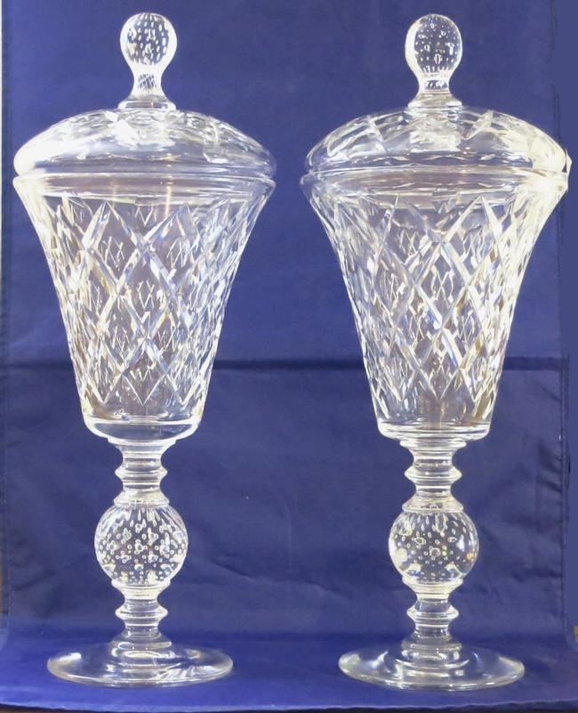 Pair of Pairpoint Cut Glass Covered Vases
