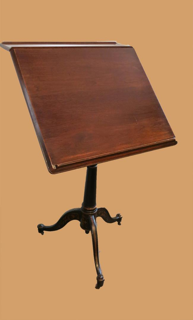 Antique Walnut & Cast Iron Drafting Table