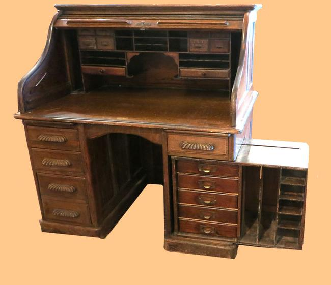Unusual Oak Roll Desk