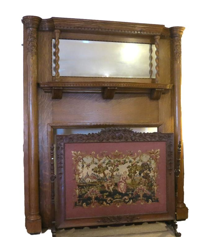 Antique Oak Fireplace Mantle & Surround