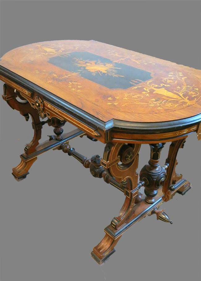 Signed Kilian Brothers Marquetry Center Table
