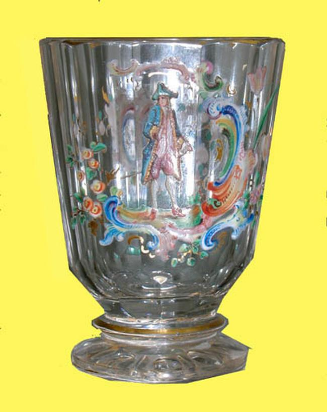 Tiny French Handpainted Footed Glass