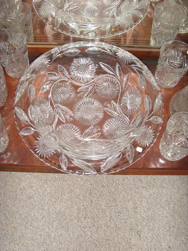 Large American Cut Glass Bowl with Flowers