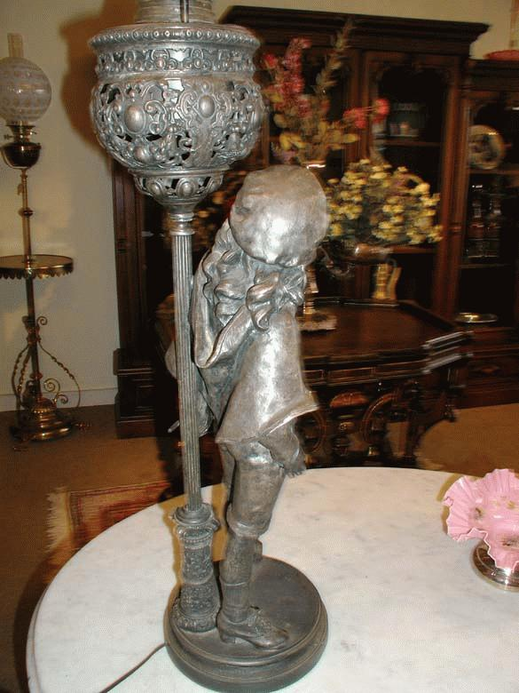 Signed B&H Figural Banquet Lamp