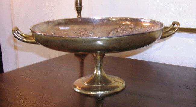 Brass and Silverplate Heavily Decorated Tazza