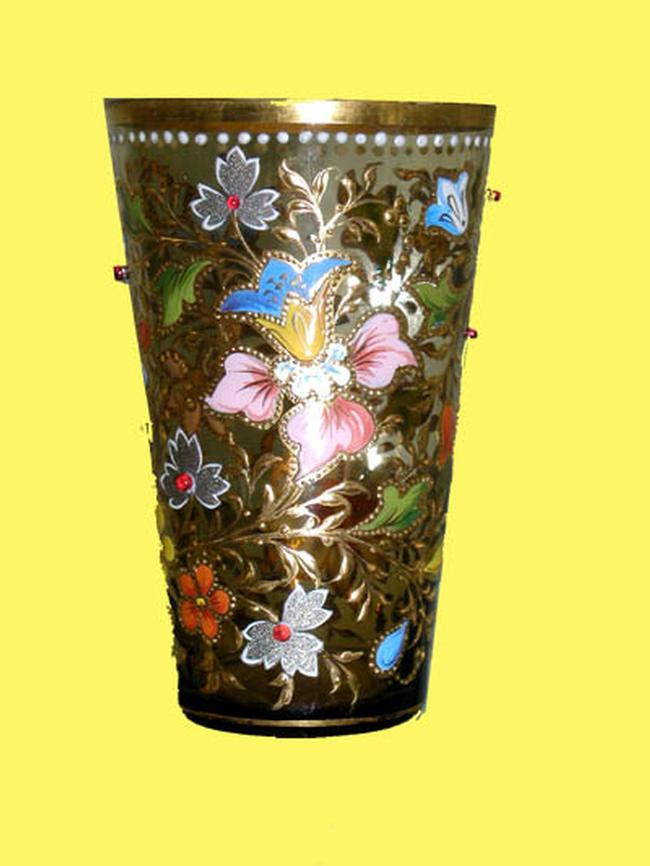 Handpainted & Jeweled Moser Tumbler